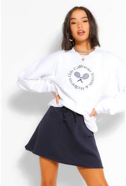 Navy Tie Waist Sweat Skater Skirt