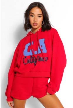 Red Teddy Applique Slogan Crop Sweat Hoody