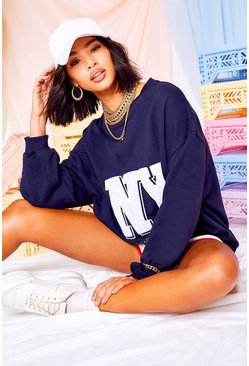 Navy NY Teddy Applique Sweat Top