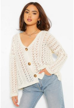 Cream white Crochet Knit Boyfriend Cardigan