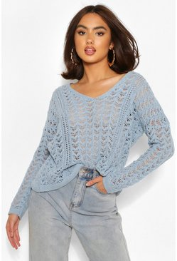 Blue Crochet Knit Sweater