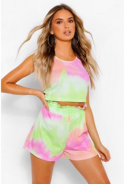 Lime green Tie Dye Rib Shorts Set