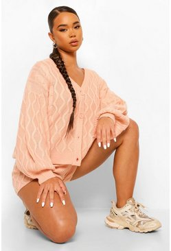 Blush pink Cable Knit Shorts Co-ord