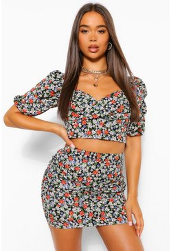 Black Floral Volume Sleeve Top & Ruched Mini Skirt