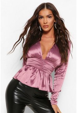 Mauve purple Matte Satin Plunge Peplum Top&PU Legging Set