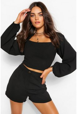 Black Tapered Neckline Volume Sleeve Top&Short Coord