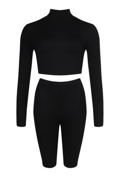 Black 2 Pack High Neck Top & Cycling Shorts Co-ord Set