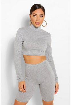 Grey 2 Pack High Neck Top & Cycling Shorts Co-ord Set