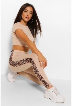 Leopard Print Side StripeTop and Legging Co-ord, Stone