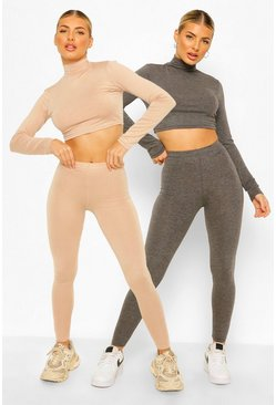 Stone beige 2 Pack High Neck Long Sleeve Top&Legging Co-ord Set