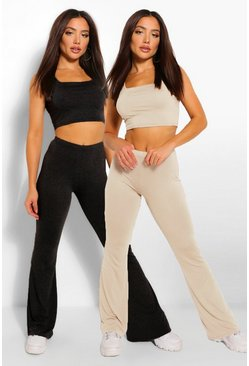 Black 2 Pack Square Neck Crop Top & Flared Trouser Co-ord