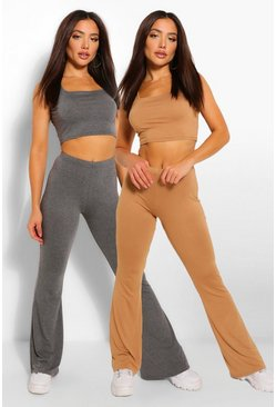Camel 2 Pack Square Neck Crop Top & Flared Trouser Co-ord