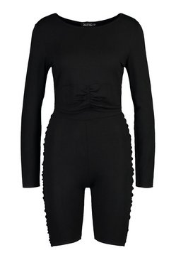 Black Ruched Detail Long Sleeve Top&Cycling Shorts Co-ord