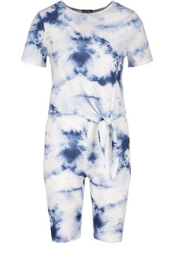 Navy Tonal Tie Dye Tie Front Top & Cycling Shorts Co-ord