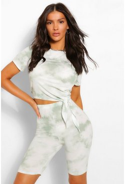 Sage green Tonal Tie Dye Tie Front Top & Cycling Shorts Co-ord