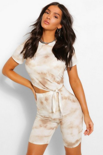 Stone beige Tonal Tie Dye Tie Front Top & Cycling Shorts Co-ord