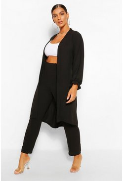 Black Maxi Duster & Wide Leg Trouser Co-ord