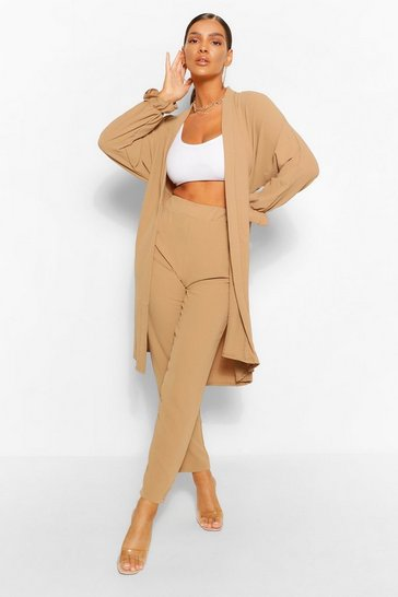 Stone beige Maxi Duster & Wide Leg Trouser Co-ord