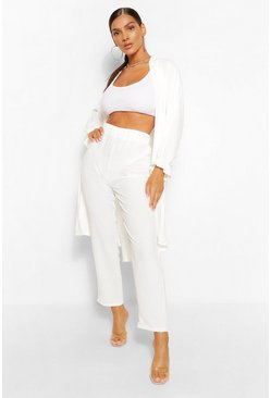 White Maxi Duster & Wide Leg Trouser Co-ord