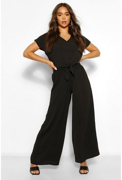Black Tie Front Top And Wide Leg Pants Two-Piece