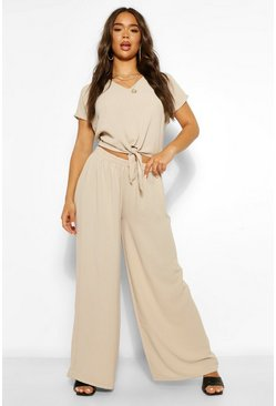 Stone beige Tie Front Top and Wide Leg Trouser Co-ord