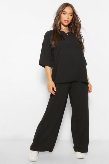 Black Oversized Luxe Top and Wide Leg Trouser Co-ord