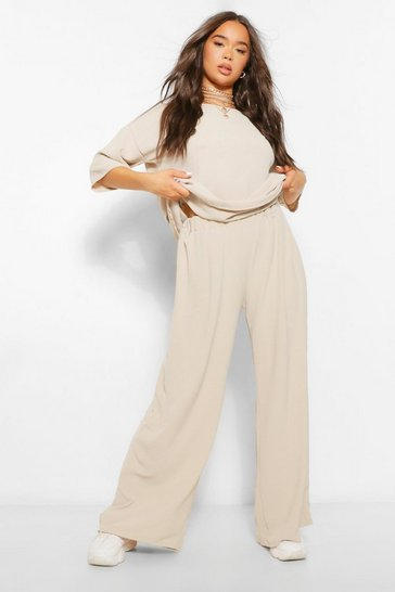 Stone beige Oversized Luxe Top and Wide Leg Trouser Co-ord