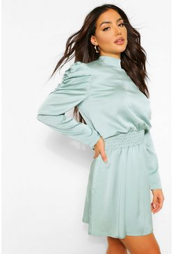 Sage green Statement Sleeve Dress