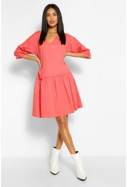 Ruffle Hem Smock Dress, Rose