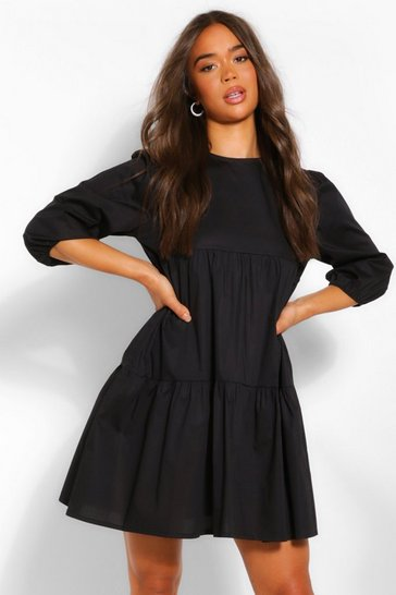 Black Tiered Cotton Smock Dress
