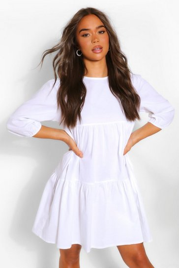 White Tiered Cotton Smock Dress