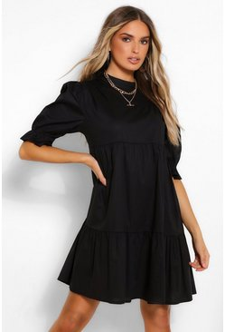 Black High Neck Smock Dress