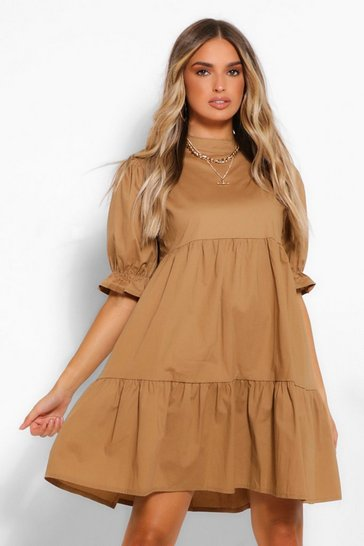 Stone beige High Neck Smock Dress
