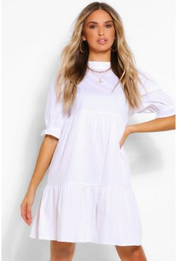 White High Neck Smock Dress
