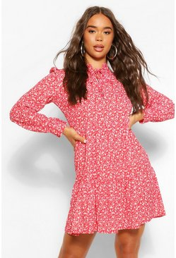 Red Ditsy Print Tie Neck Smock Dress