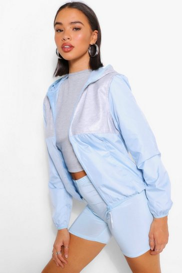 Blue Jersey Panel Hooded Bomber Jacket