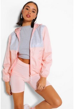 Peach Jersey Panel Hooded Bomber Jacket