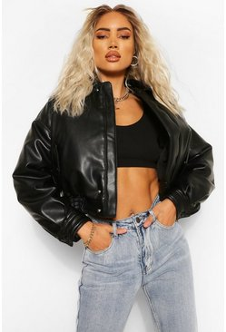 Black Padded Faux Leather Bomber Jacket