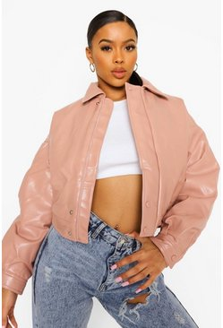 Dusky pink pink Padded Faux Leather Bomber Jacket