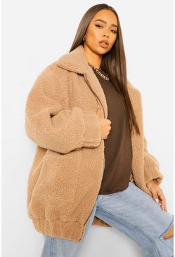 Camel beige Oversized Teddy Faux Fur Bomber Jacket