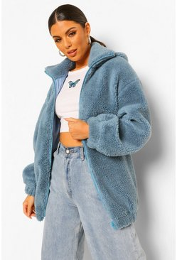 Blue Hooded Oversized Teddy Jacket