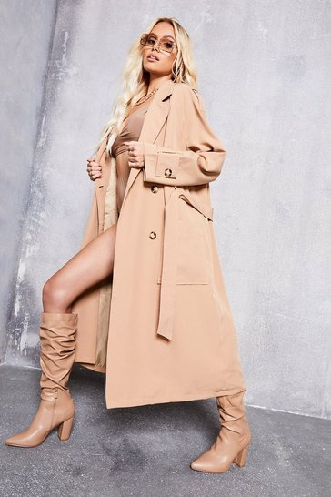 Camel beige Double Breasted Trench Coat