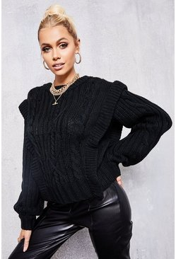 Black Shoulder Detail Cable Knit Jumper