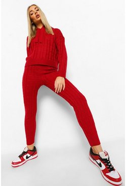 Berry red Chunky Cable Knitted Co-ord