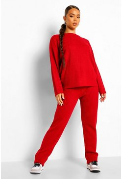 Berry red Oversized Rib Knitted Tracksuit