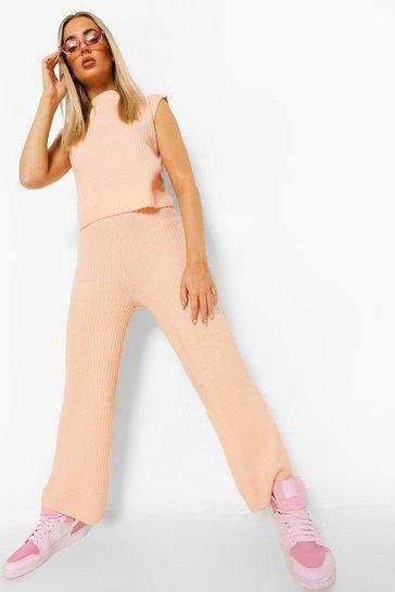 Peach orange High Neck Wide Leg Rib Knit Co-ord