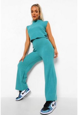 Teal green High Neck Wide Leg Rib Knit Co-ord