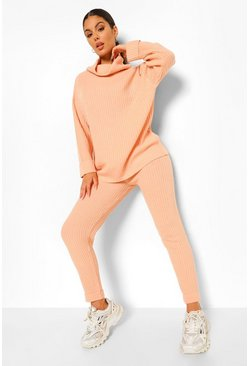 Peach orange Chunky Rib Knitted Tracksuit