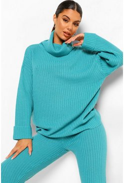 Teal green Chunky Rib Knitted Tracksuit
