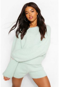 Sage green Premium Fluffy Knit Shorts Co-Ord